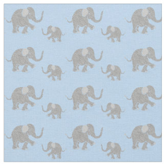 Cute Gray Baby Elephants on Pastel Blue Fabric