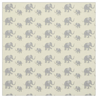 Cute Gray Baby Elephants on Pastel Yellow Fabric