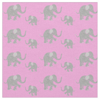 Cute Gray Baby Elephants on Pink Fabric