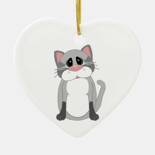 Cute Gray Cat Christmas Tree Ornament