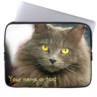 Cute Gray Cat with Golden Eyes and Your Text Laptop Sleeve