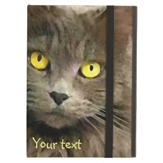 Cute Gray Cat with Golden Eyes Cover For iPad Air