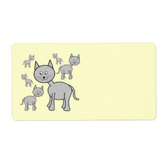 Cute Gray Cats. Cartoon on Cream. Shipping Label