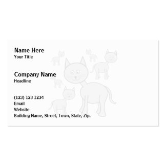 Cute Gray Cats. Cat Cartoon. Pack Of Standard Business Cards