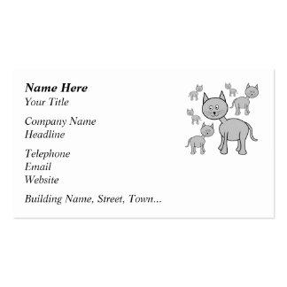 Cute Gray Cats. Cat Cartoon. Business Cards