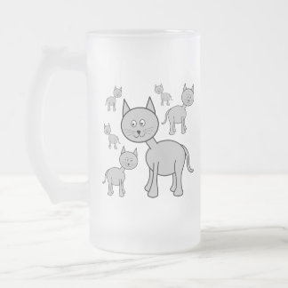 Cute Gray Cats. Cat Cartoon. Mugs