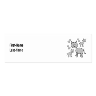 Cute Gray Cats. Cat Cartoon. Pack Of Skinny Business Cards