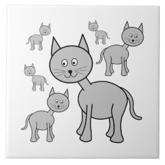 Cute Gray Cats. Cat Cartoon. Large Square Tile