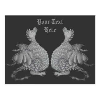 cute gray dragon mythical and fantasy creature art postcard