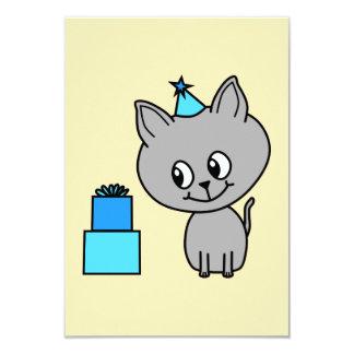 Cute Gray Kitten in a Blue Birthday Hat. Custom Invitations