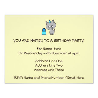 Cute Gray Kitten in a Blue Birthday Hat. Invites