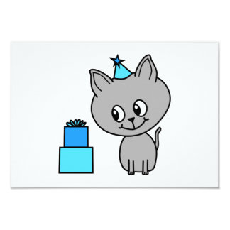 Cute Gray Kitten in a Blue Birthday Hat. Personalized Announcements