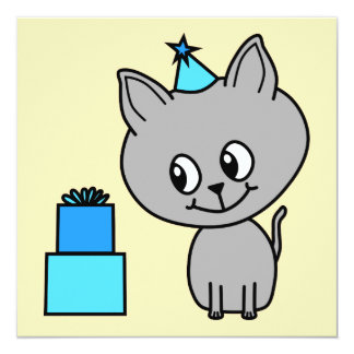 Cute Gray Kitten in a Blue Birthday Hat. Personalized Invitation