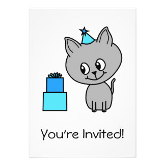 Cute Gray Kitten in a Blue Birthday Hat. Invitations