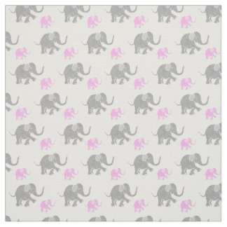 Cute Gray Pink Baby Elephants Pattern Horizontal Fabric