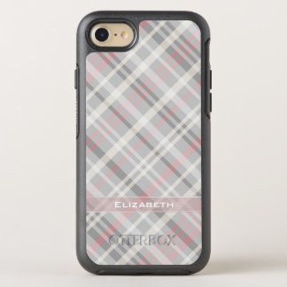 cute gray pink plaid OtterBox symmetry iPhone 8/7 case