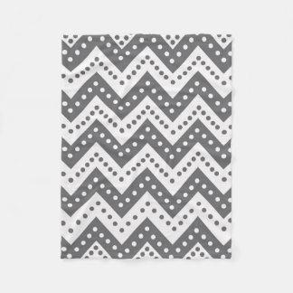 Cute Gray Polkadot Zigzags Fleece Blanket