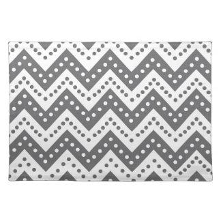 Cute Gray Polkadot Zigzags Placemat