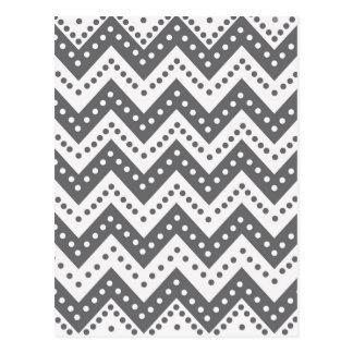 Cute Gray Polkadot Zigzags Postcard