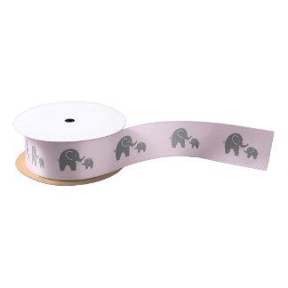 Cute gray safari elephant baby shower gift ribbon satin ribbon
