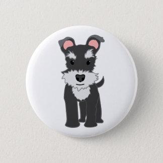 Cute gray schnauzer puppy 6 cm round badge