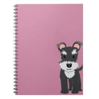 Cute gray schnauzer puppy notebooks