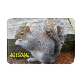 Cute Gray Squirrel Bath Mat