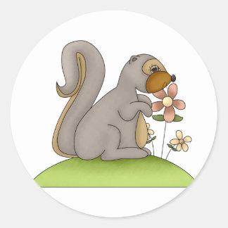 Cute Gray Squirrel Classic Round Sticker