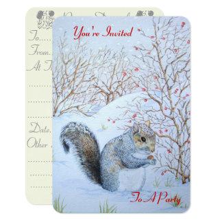 cute gray squirrel snow scene wildlife invitation