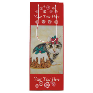 cute gray tabby kitten licking paw christmas art wine gift bag