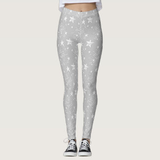 Cute Gray with White Stars Patterned Leggings