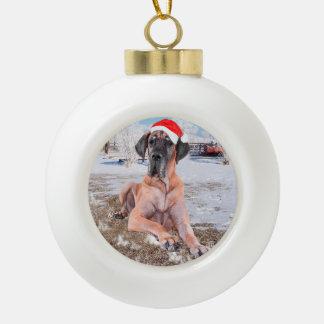 Cute Great Dane Dog Sitting In Snow Christmas Hat Ceramic Ball Christmas Ornament