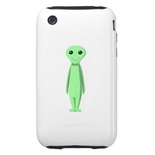 Cute Green Alien. Cartoon. iPhone 3 Tough Cases