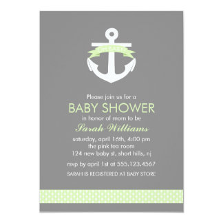 Cute Green Anchor Nautical Theme Baby Shower 13 Cm X 18 Cm Invitation Card