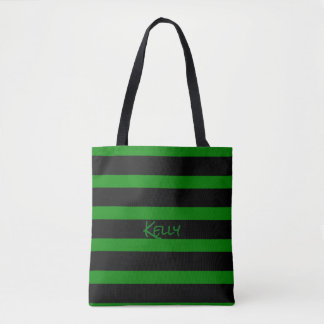 Cute Green and Black Striped Add Your Name Tote Bag