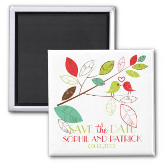 Cute Green and Red Lovebirds Save the Date Magnet