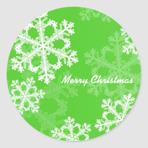 Cute green and white Christmas snowflakes Round Sticker