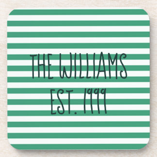 Cute Green and White Stripes Coaster