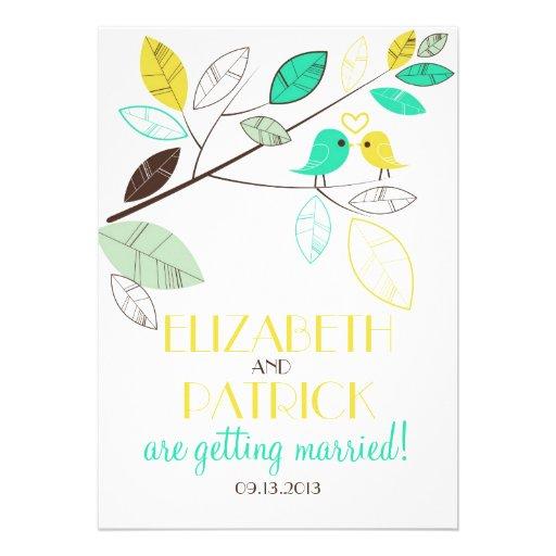 Cute Green and Yellow Lovebirds Wedding Invitation
