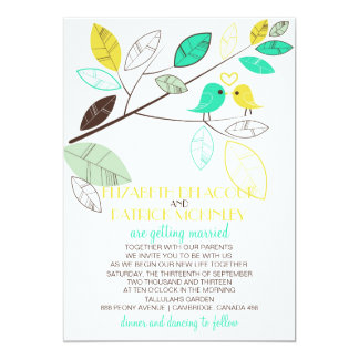 "Cute Green and Yellow Lovebirds Wedding Invitation 5"" X 7"" Invitation Card"