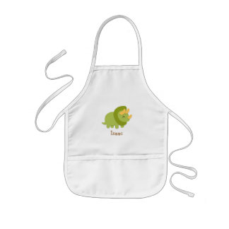Cute Green and yellow Triceratops Kids Apron