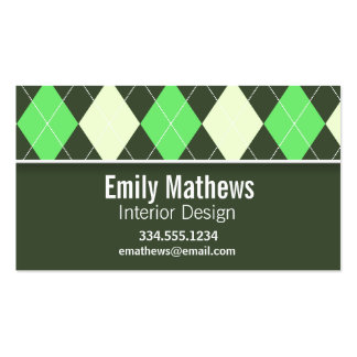 Cute Green Argyle Pattern Business Cards