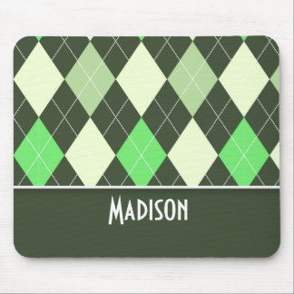 Cute Green Argyle Pattern Mouse Pad