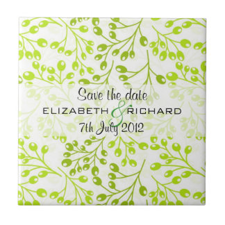 Cute green autumn fruits Save the date Tile