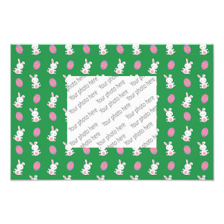 Cute green baby bunny easter pattern photo art