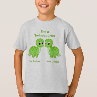 Cute Green Baby Dinosaur Twins Personalized T-Shirt