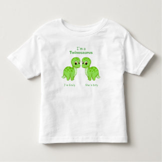 Cute Green Baby Dinosaur Twins Personalized Toddler T-Shirt