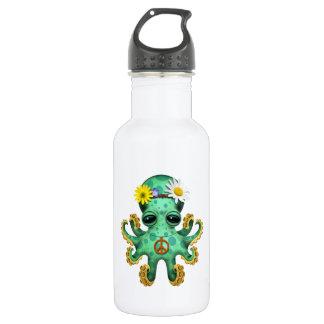 Cute Green Baby Octopus Hippie 532 Ml Water Bottle