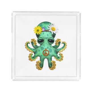 Cute Green Baby Octopus Hippie Acrylic Tray