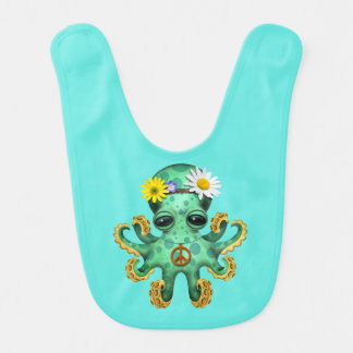 Cute Green Baby Octopus Hippie Bib